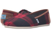 Toms Seasonal Classics Red Black Plaid Women's Slip On Shoes Multi