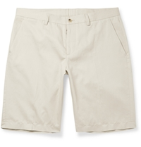 Maison Martin Margiela Cotton And Linen Blend Twill Short Neutrals
