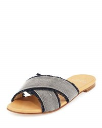 Stuart Weitzman Edgeway Fringed Denim Flat Slide Sandal Navy Navy Antique W Si