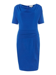Mary Portas Paula Ponte Twist Side Drape Dress Cobalt