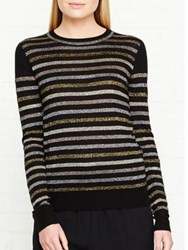 Whistles Stripe Sparkle Crew Knit Jumper Black Multi