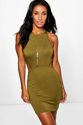 Boohoo Cut Out Racer Bodycon Dress Olive
