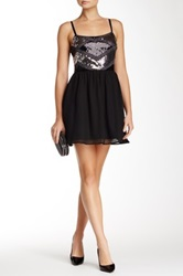 As U Wish Sequin Bodice Homecoming Dress Black