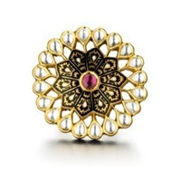 Madhuri Parson Rock Crystal And Rhodolite Jadau Mosaic Ring Pink