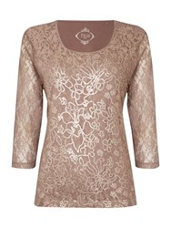 Tigi Three Quarter Sleeve Sequin Top Brown