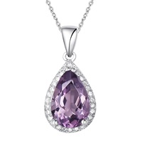 H. Azeem Pear Drop Amethyst Necklace Pink Purple Silver