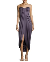 Michael Kors Strapless Pleated High Low Gown Plum