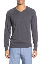 Original Penguin Men's Raglan V Neck Sweater Dark Slate