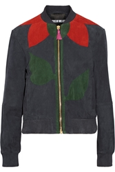 House Of Holland Paneled Suede Bomber Jacket