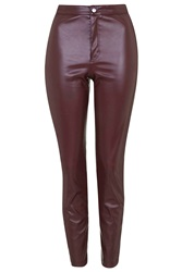Topshop Leather Look Skinny Trousers Oxblood