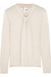 Iris And Ink Naomi Pussy Bow Cashmere Sweater Neutral