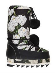 Dolce And Gabbana Tulips Printed Nylon Lapin Snow Boots