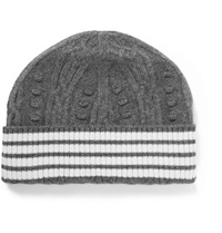 Thom Browne Cable Knit Cashmere Beanie Gray