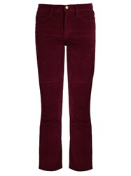 Frame Le High Straight Leg Corduroy Trousers Burgundy