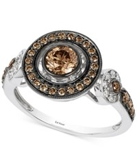 Le Vian Chocolatier Chocolate Deco Chocolate And White Diamond Deco Ring 7 8 Ct. T.W. In 14K White Gold