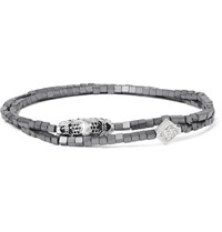 Luis Morais White Gold Hematite And Crystal Wrap Bracelet Gray