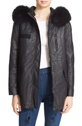 Alice Olivia Women's 'Tandy' Waxed Cotton Parka With Genuine Fox Fur Collar And Vest