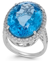 Macy's Blue And White Topaz Ring In Sterling Silver 21 Ct. T.W.