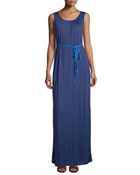 Neiman Marcus Sleeveless Knit Maxi Dress W Braided Belt Navy