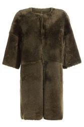 Yves Salomon Sheepskin Coat Green