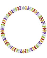 Macy's Multi Gemstone Three Row Collar Necklace 90 Ct. T.W. In Sterling Silver