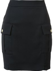 Balmain Pierre Flap Pocket Mini Skirt Black