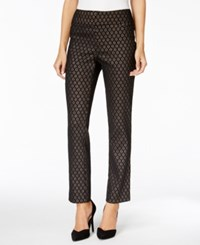Charter Club Metallic Jacquard Ankle Pants Only At Macy's Deep Black Combo