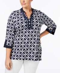 Charter Club Plus Size Printed Tunic Only At Macy's Intrepid Blue Combo