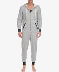 2Xist 2 X Ist Men's Heathered Terry Pajama Jumpsuit Light Grey Heather