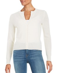 Lord And Taylor Petite Basic Crewneck Cashmere Cardigan Ivory