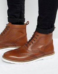Asos Brogue Boots In Tan Leather With White Sole Tan