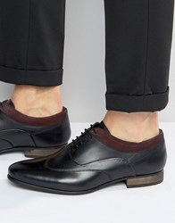 Asos Lace Up Shoes In Black Leather With Burgundy Cuff Black