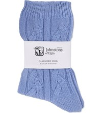 Johnstons Cable Knit Cashmere Socks Pervinca