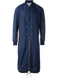 Casely Hayford Long Bomber Style Single Breasted Coat Blue