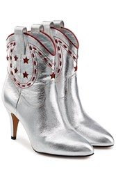 Marc Jacobs Georgia Metallic Leather Cowboy Boots Silver