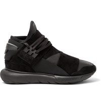 Y 3 Qasa Suede Trimmed Leather High Top Sneakers Black
