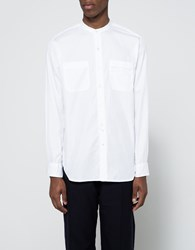 Engineered Garments Banded Collar Shirt White Super Fine Twill