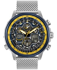 Citizen Men's Analog Digital Chronograph Eco Drive Navihawk A T Stainless Steel Mesh Bracelet Watch 48Mm Jy8031 56L Silver