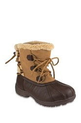 London Fog Ledbury Faux Shearling Trim Lace Up Cold Weather Boot Brown