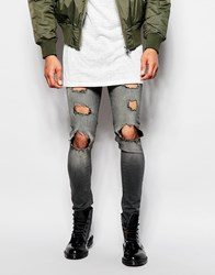 Asos Extreme Super Skinny Jeans With Extreme Rips In Dark Grey Darkgrey