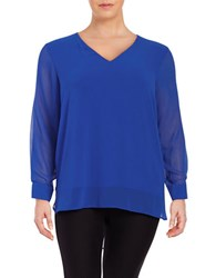 Calvin Klein Plus Sheer V Neck Blouse Celestial Blue