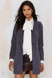 Nasty Gal Lapel Of The Ball Tailored Coat Charcoal