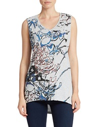 William Rast Floral Graphic Tank Top Heather Grey