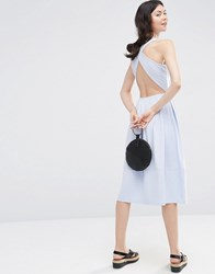 Asos Midi Skater Dress With Cross Back Pale Blue