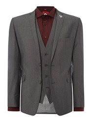 Lambretta Plain Slim Fit Suit Grey