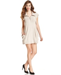 Kensie Flutter Sleeve Draped French Terry Dress Heather Buff