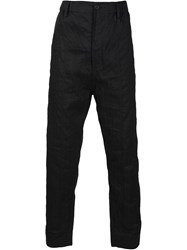 Ziggy Chen Embroidered Drop Crotch Trousers Black