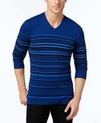 Alfani Men's Striped V Neck Sweater Only At Macy's Dark Side Combo
