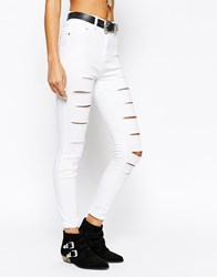 New Look Extreme Ripped Skinny Jeans White