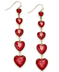 Thalia Sodi Gold Tone Graduated Hearts Linear Earrings Only At Macy's Red